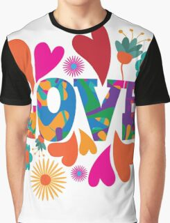 Sixties style mod pop art psychedelic colorful Love text design Graphic T-Shirt