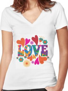 Sixties style mod pop art psychedelic colorful Love text design Women's Fitted V-Neck T-Shirt