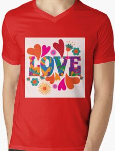 Sixties style mod pop art psychedelic colorful Love text design Mens V-Neck T-Shirt