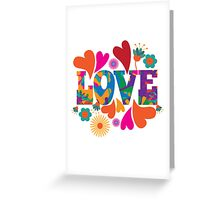 Sixties style mod pop art psychedelic colorful Love text design Greeting Card