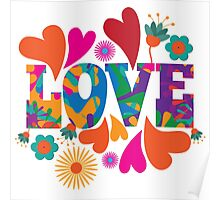 Sixties style mod pop art psychedelic colorful Love text design Poster