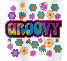 Sixties style mod pop art psychedelic colorful Groovy text design Poster