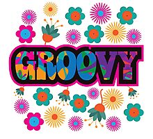 Sixties style mod pop art psychedelic colorful Groovy text design Photographic Print