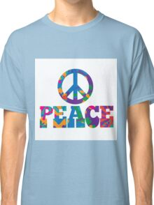 Sixties style mod pop art psychedelic colorful Peace text design Classic T-Shirt