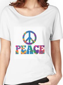 Sixties style mod pop art psychedelic colorful Peace text design Women's Relaxed Fit T-Shirt