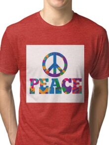 Sixties style mod pop art psychedelic colorful Peace text design Tri-blend T-Shirt