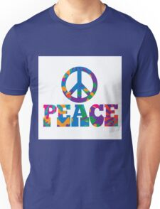 Sixties style mod pop art psychedelic colorful Peace text design Unisex T-Shirt