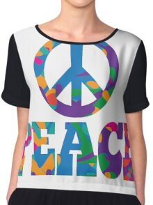 Sixties style mod pop art psychedelic colorful Peace text design Chiffon Top