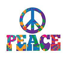 Sixties style mod pop art psychedelic colorful Peace text design Photographic Print
