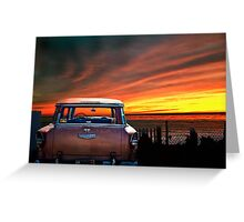 FIFTY FIVE CHEVY WITH CALIFORNIA SUNSET Greeting Card