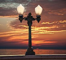 STREET LIGHT WITH CALIFORNIA SUNSET by Larry Butterworth