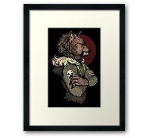Wolf Rising Brown Framed Print