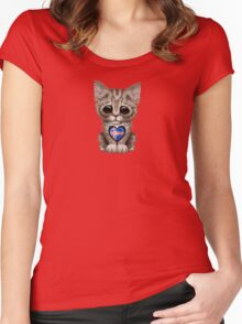 Cute Kitten Cat with Icelandic Flag Heart Women's Fitted Scoop T-Shirt