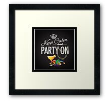 Keep calm and party on Cinco De Mayo blackboard design Framed Print
