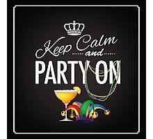Keep calm and party on Cinco De Mayo blackboard design Photographic Print