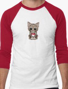 Cute Kitten Cat with Indonesian Flag Heart Men's Baseball ¾ T-Shirt