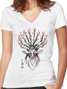The Deer God sumi-e Women's Fitted V-Neck T-Shirt