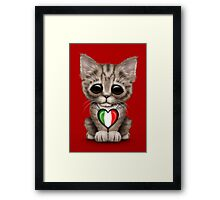 Cute Kitten Cat with Italian Flag Heart Framed Print