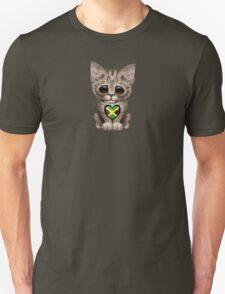 Cute Kitten Cat with Jamaican Flag Heart Unisex T-Shirt