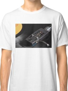 Vinyl Record Playing on a Turntable Overview Classic T-Shirt