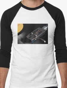 Vinyl Record Playing on a Turntable Overview Men's Baseball ¾ T-Shirt