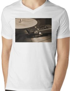 Vinyl Record Playing on a Turntable Overview Mens V-Neck T-Shirt