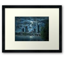 Storm in the city Framed Print