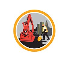 Mechanical Digger Construction Worker Circle by patrimonio