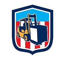 Forklift Truck Materials Logistics Shield Retro by patrimonio