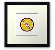 Rodeo Cowboy Bull Riding Retro Circle Framed Print