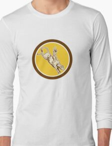 Rodeo Cowboy Bull Riding Retro Circle Long Sleeve T-Shirt