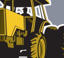 Farmer Driving Vintage Farm Tractor Plowing Retro Sticker