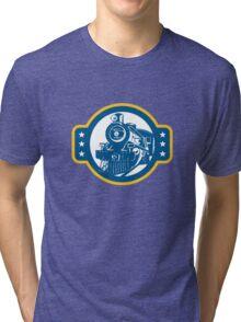Steam Train Locomotive Front Retro Tri-blend T-Shirt
