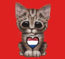 Cute Kitten Cat with Dutch Flag Heart Kids Clothes