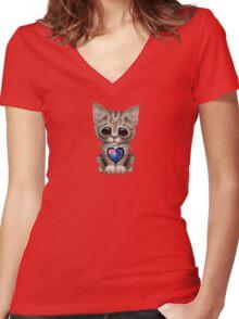 Cute Kitten Cat with New Zealand Flag Heart Women's Fitted V-Neck T-Shirt