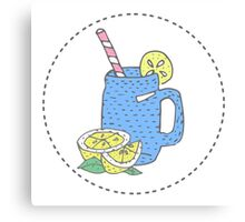 illustration for greeting cards, magazine, cafe and restaurant menu. Fresh smoothies, detox, fruit cocktail for healthy life, diets. A set of quirky cartoon patch badges or fashion pin badges Canvas Print