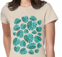 Tropical Leaf Monstera Plant Pattern Womens Fitted T-Shirt