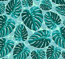 Tropical Leaf Monstera Plant Pattern by BluedarkArt