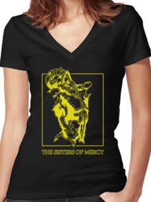 The Sisters Of Mercy - The Worlds End - Front Yellow -Under The Gun Women's Fitted V-Neck T-Shirt