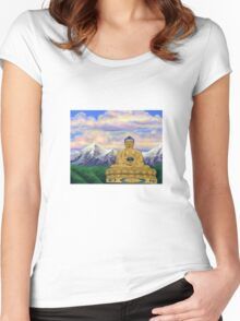 Sitting Still: Golden Buddha, Nepal Women's Fitted Scoop T-Shirt