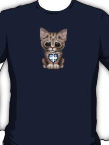 Cute Kitten Cat with Quebec Flag Heart T-Shirt