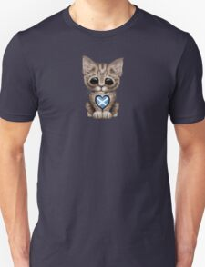 Cute Kitten Cat with Scottish Flag Heart T-Shirt