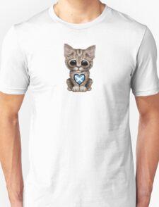 Cute Kitten Cat with Scottish Flag Heart T-Shirt