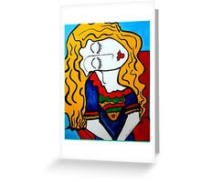 PICASSO PAINTING BY NORA,  SHY GIRL Greeting Card