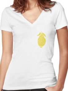 Seamless pattern, beautiful lemons, in a flat style Women's Fitted V-Neck T-Shirt