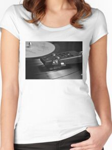 Vinyl record playing on a turntable Women's Fitted Scoop T-Shirt
