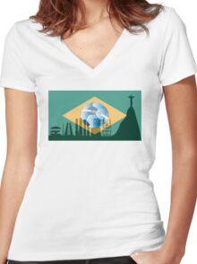 Rio de Janeiro skyline Women's Fitted V-Neck T-Shirt