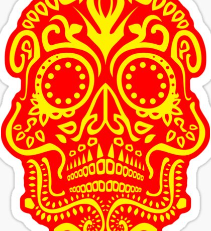 Day of the Dead Skull - Red and Yellow  Sticker