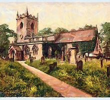 A digital painting of Eyam Church (plague village) Derbyshire, England by Dennis Melling