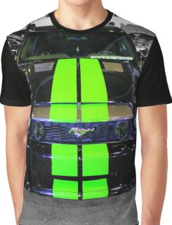 Black Mustang with Green Stripes Graphic T-Shirt